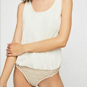 Free People Sydney White bodysuit size small